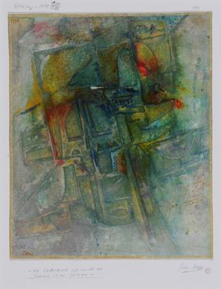 Haff Peter, 2 paintings: Die Kathedrale ist nicht die Summe ihrer Steine, 1999; Sand und Wasser geteilt, wie ein halbes Geständnis