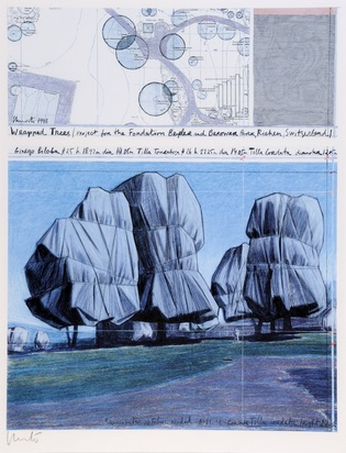 Christo, Wrapped Trees, Project for the Fondation Beyeler and Berower Park, Riehen, Switzerland
