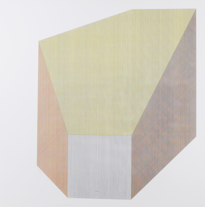 LeWitt Sol, Form Derived from a Cube with Lines in Four Directions & Four Colors