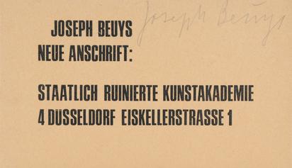 Beuys Joseph, Neue Anschrift