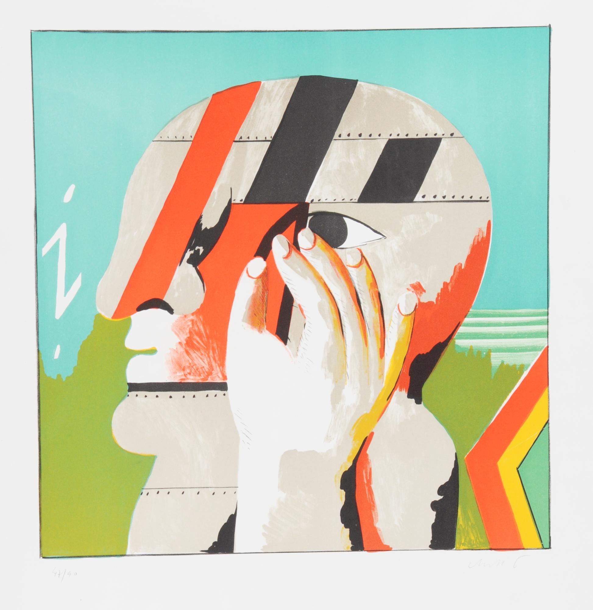 Antes Horst, 2 sheets: Maskierte Figur mit Treppe, 1965; i-Kopf