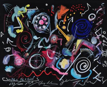 Grafik, 4 sheets: J. Beuys; M. Disler; J. Tinguely; R. Mumprecht
