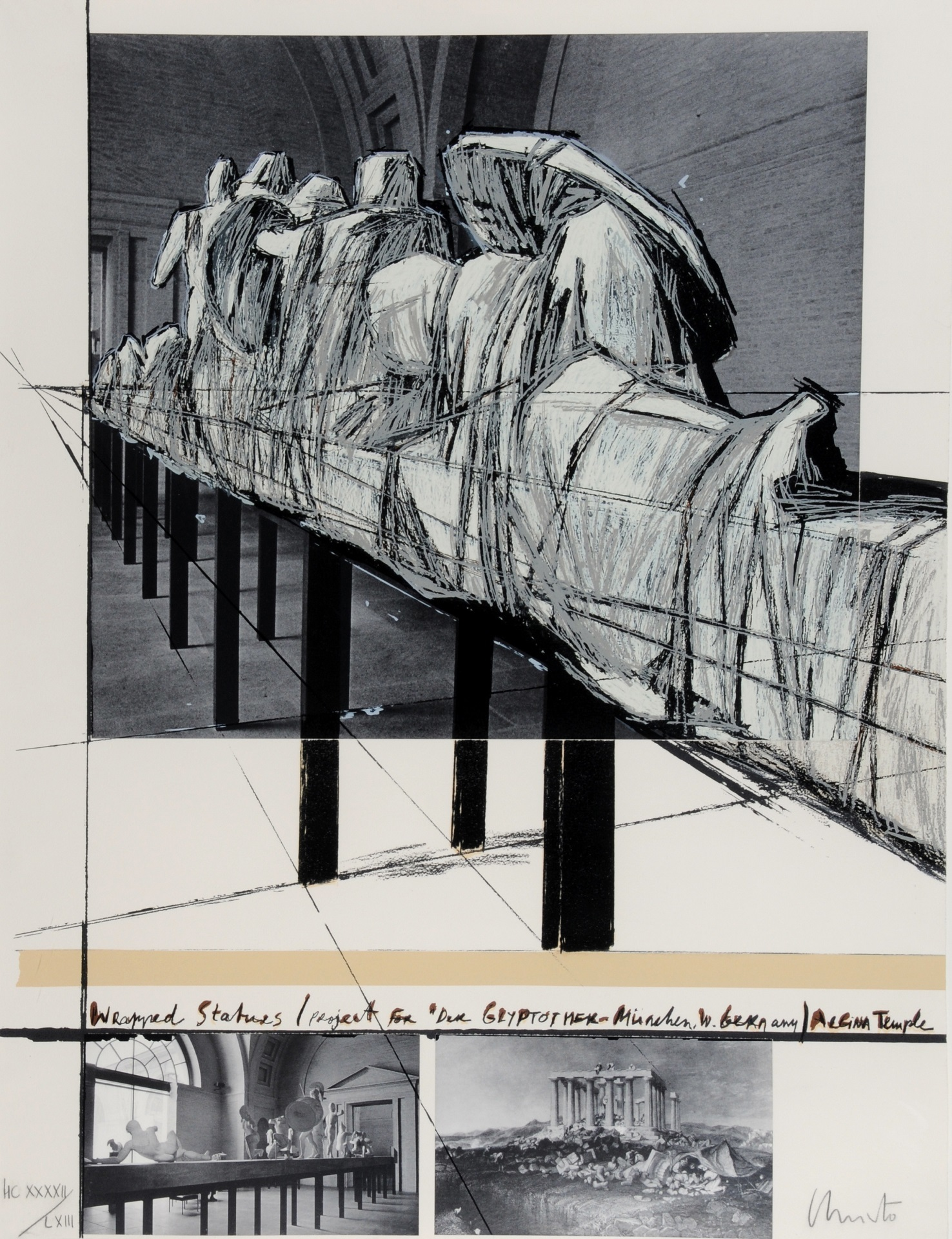 """Christo, Wrapped Statues, Project for """"Die Glyptothek München"""""""