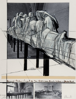"Christo, Wrapped Statues, Project for ""Die Glyptothek München"""