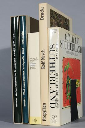 Konvolut, 5 books:  - Fred Jahn. Georg Baselitz, Werkverzeichnis der Druckgrafik, Volume I: 1963-1974, Volume II: 1974-1982