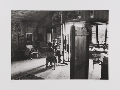 Scheidegger Ernst, 2 sheets: Giacometti at the Atelier