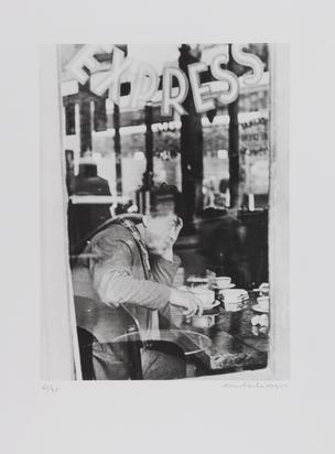 Scheidegger Ernst, 2 Blätter: Giacometti im Atelier; Giacometti im Café