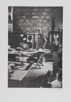Scheidegger Ernst, 3 Blätter: Le Corbusier im Atelier; Dalí beim Arbeiten; Giacometti-Figuren