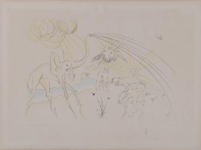"""Dalí Salvador, Die pestkranken Tiere aus """"Le bestiaire de La Fontaine dalinisé"""""""