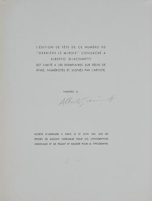 Giacometti Alberto, Portfolio. Derrière le Miroir, N° 127