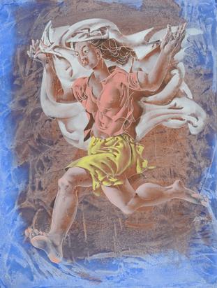 Erni Hans, Springendes Mädchen mit weissem Tuch spielend