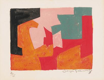 Poliakoff Serge, Composition orange, noire, rose, verte et rouge