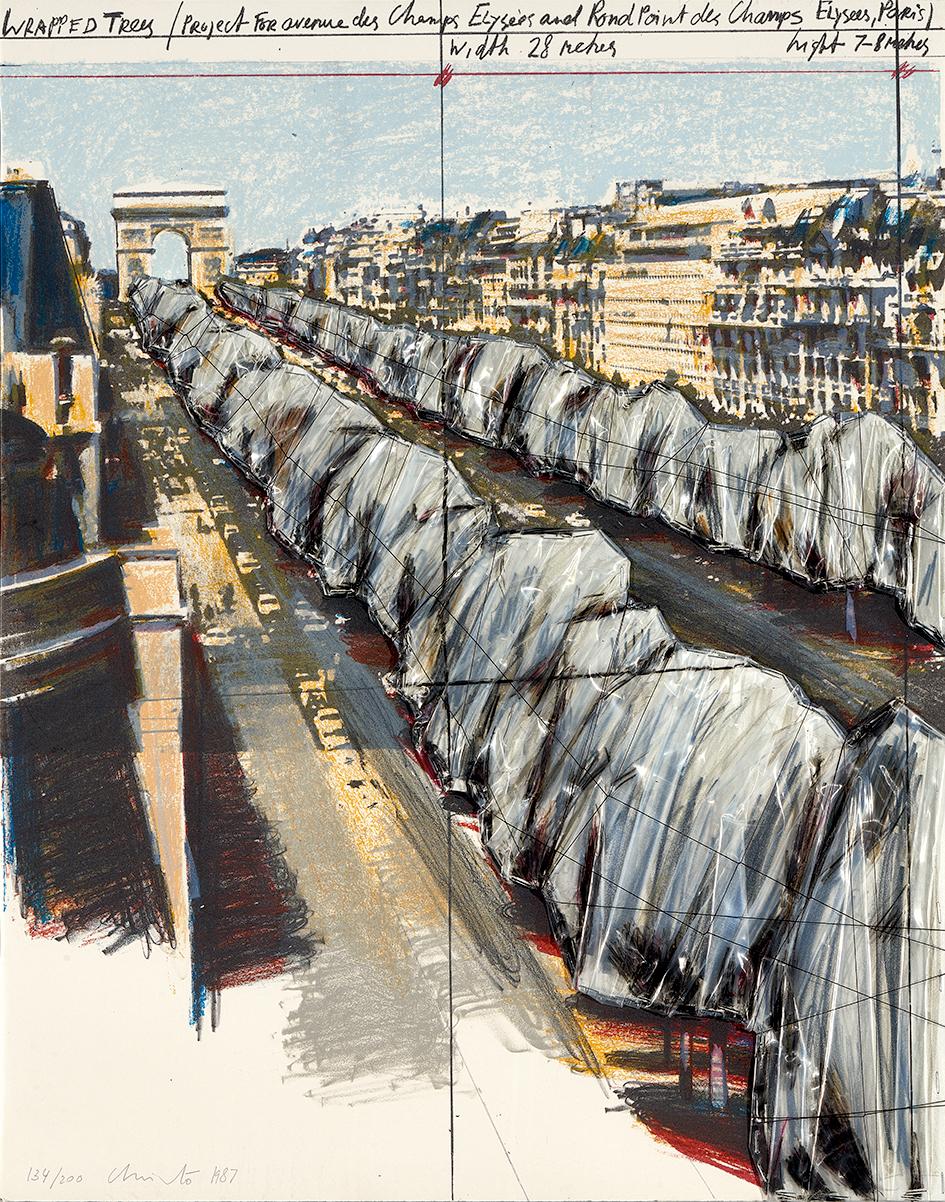 Christo, Wrapped Trees, Project for the Avenue des Champs-Elysées, Paris, 1987