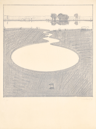 """Thiebaud Wayne, Silver Landscape, from """"Seven Still Lifes and a Silver Landscape"""""""