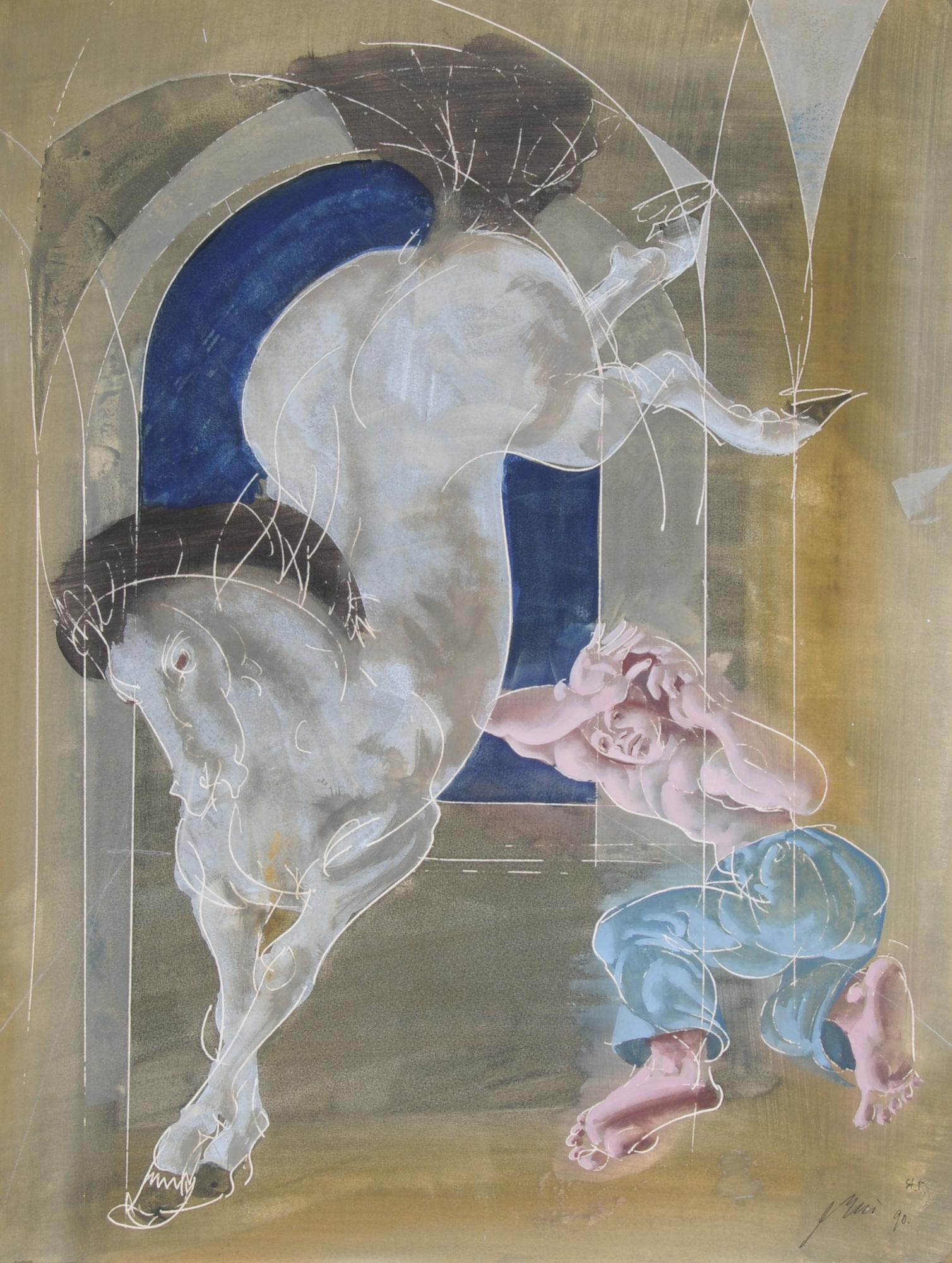 Erni Hans, Mann mit ausschlagendem Pferd