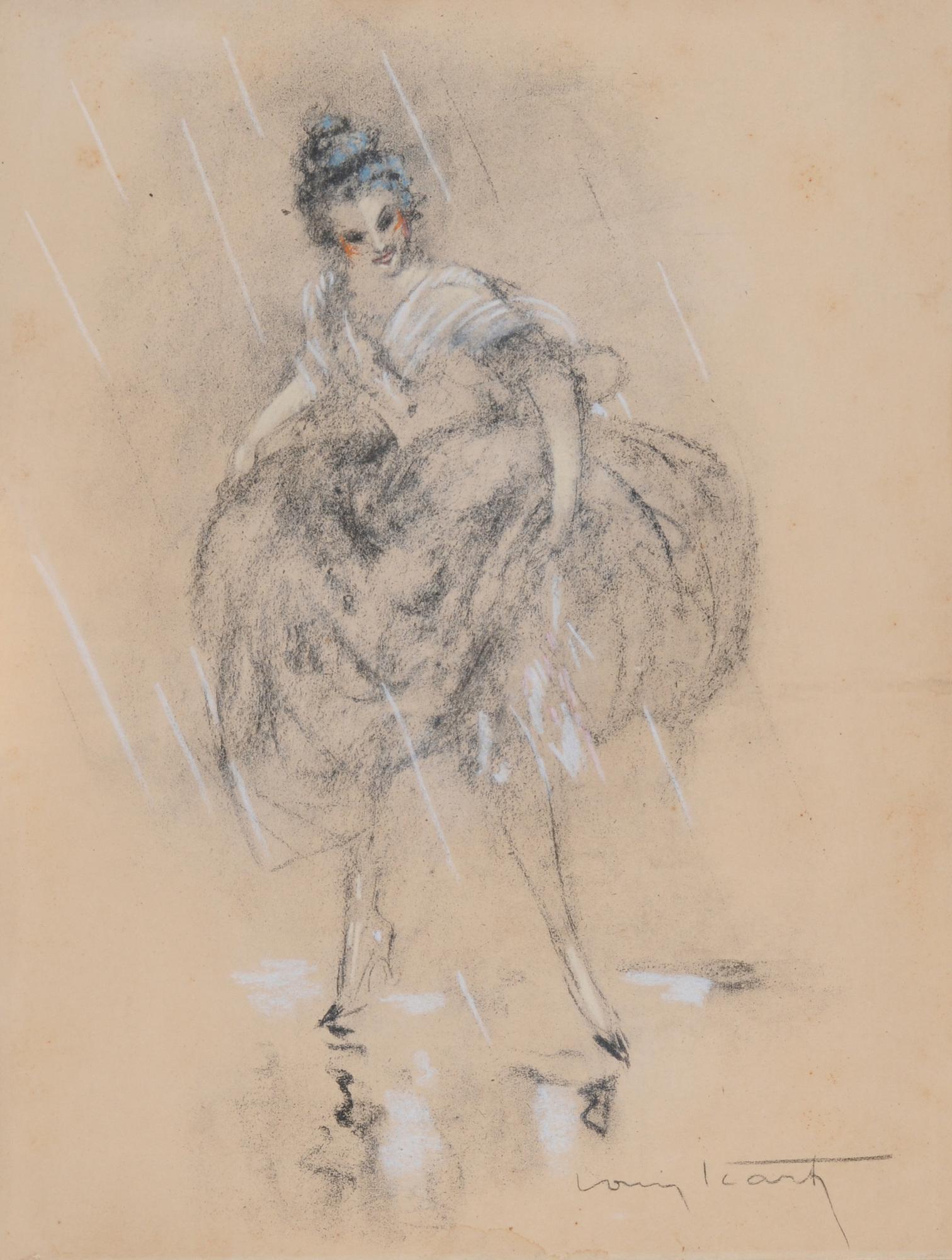Icart Louis, 2 drawings: La patineuse; Jeune femme sous la pluie