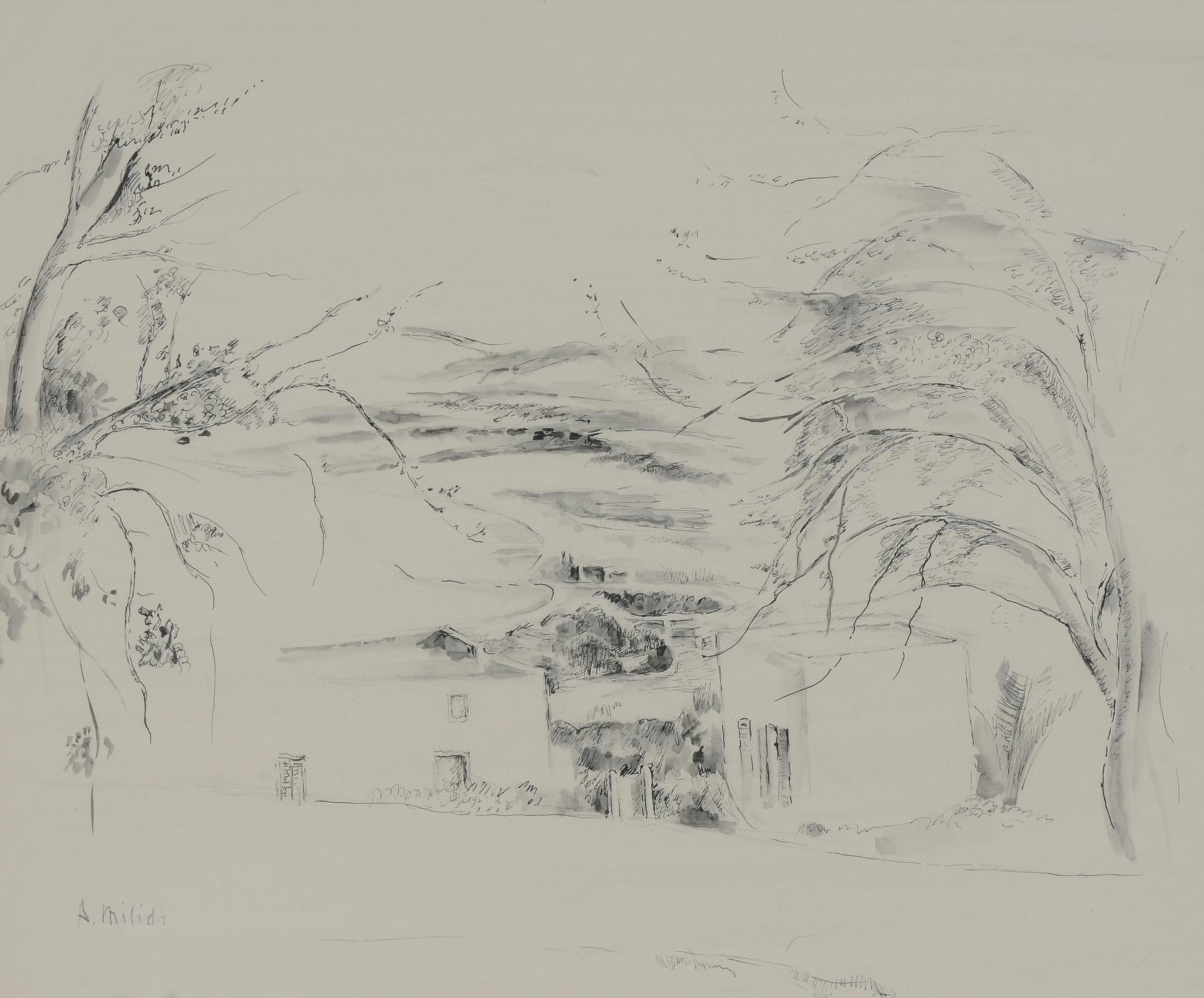 Milich Adolphe, Landschaft mit Wasser und Häusern