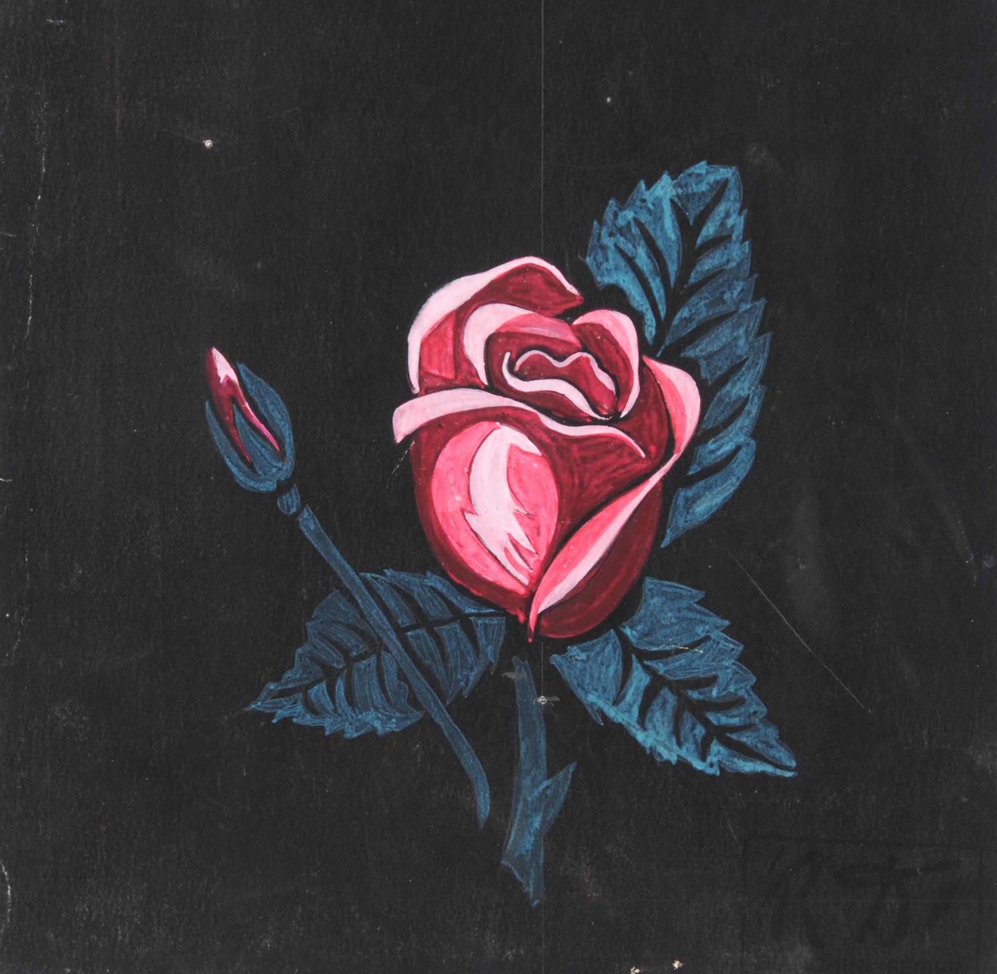 Dufy Raoul, Rose sur fond noir