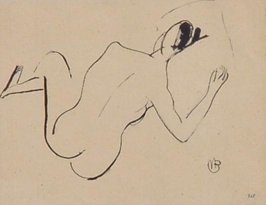 Barraud Maurice, Femme nue couchée de dos