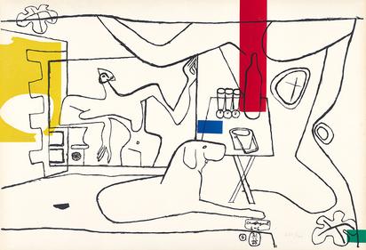 """Corbusier Le, Trois verre d'apéritif, from  """"Cortège...."""""""