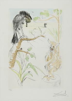 """Dalí Salvador, Le renard et le corbeau, from """"Le bestiaire de La Fontaine dalinisé"""""""