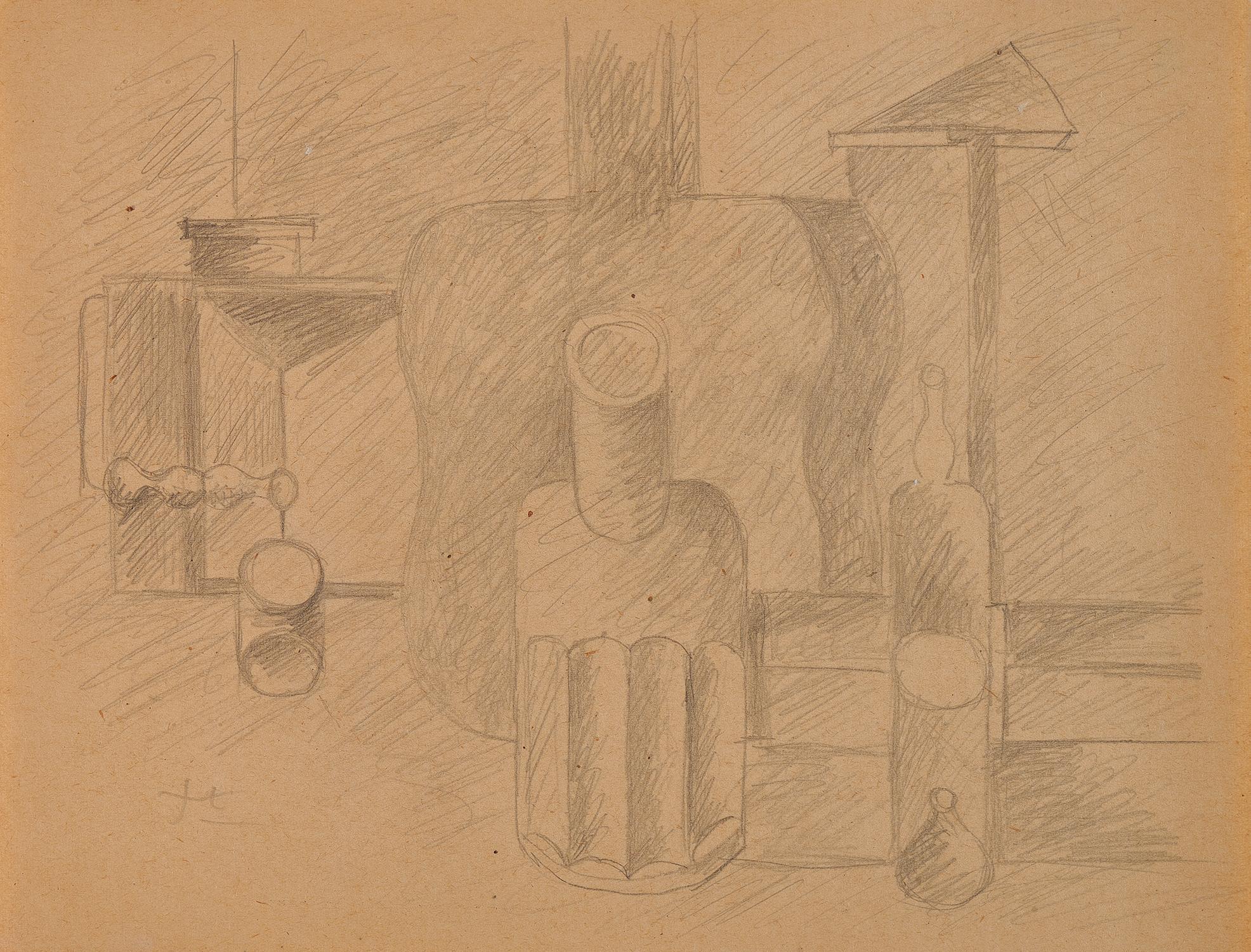 Corbusier Le, Nature morte à la guitare verticale, lanterne, bouteille, carafe et verre