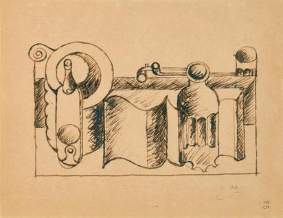 Corbusier Le, Nature morte au livre, carafe, bouteille, verre et pipes
