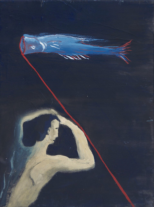Ikemura Leiko, Figur mit Fisch (Figure with Fish)