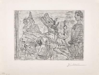 """Picasso Pablo, Minotaure aveugle guidé par une petite fille au pigeon, from """"Suite Vollard"""""""