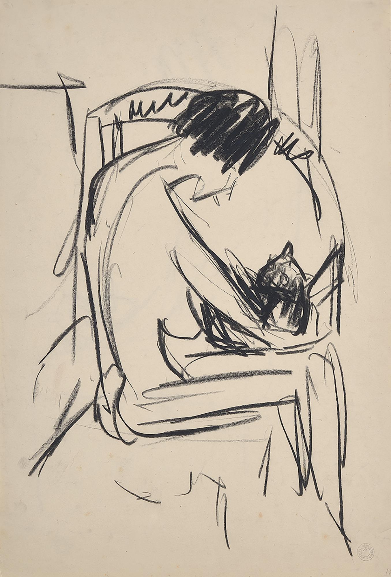 Scherer Hermann, Sitting Female Nude with Cat