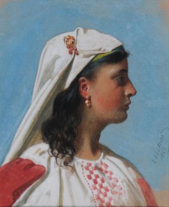 Volkers Emil, Bildnis einer jungen Italienerin in Tracht (Portrait of a Young Italian in Garb)