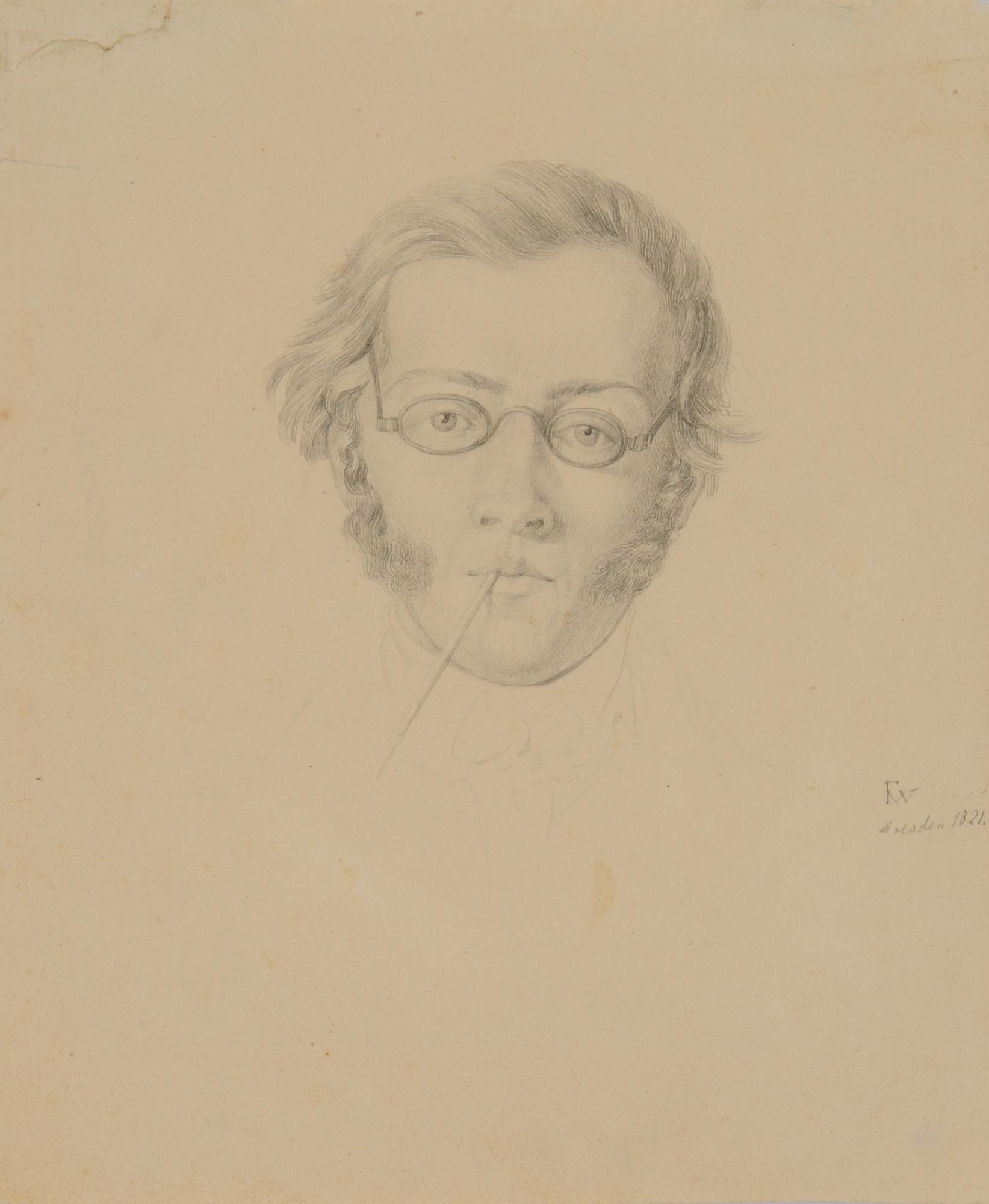 Waldmüller Ferdinand, Head of the Violinist and Composer Franz Schubert