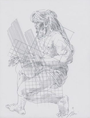 "Erni Hans, Original drawing from the book ""Leben mit Elektronen"" by Pierre Arnold"