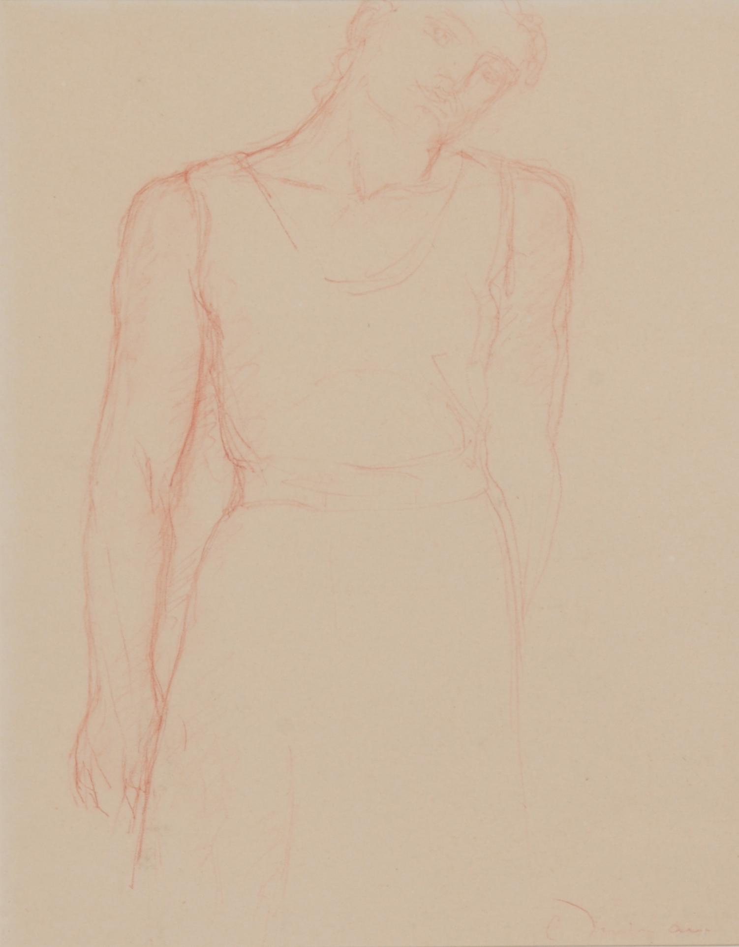 Despiau Charles, 2 Zeichnungen: Femme allongée; Femme debout