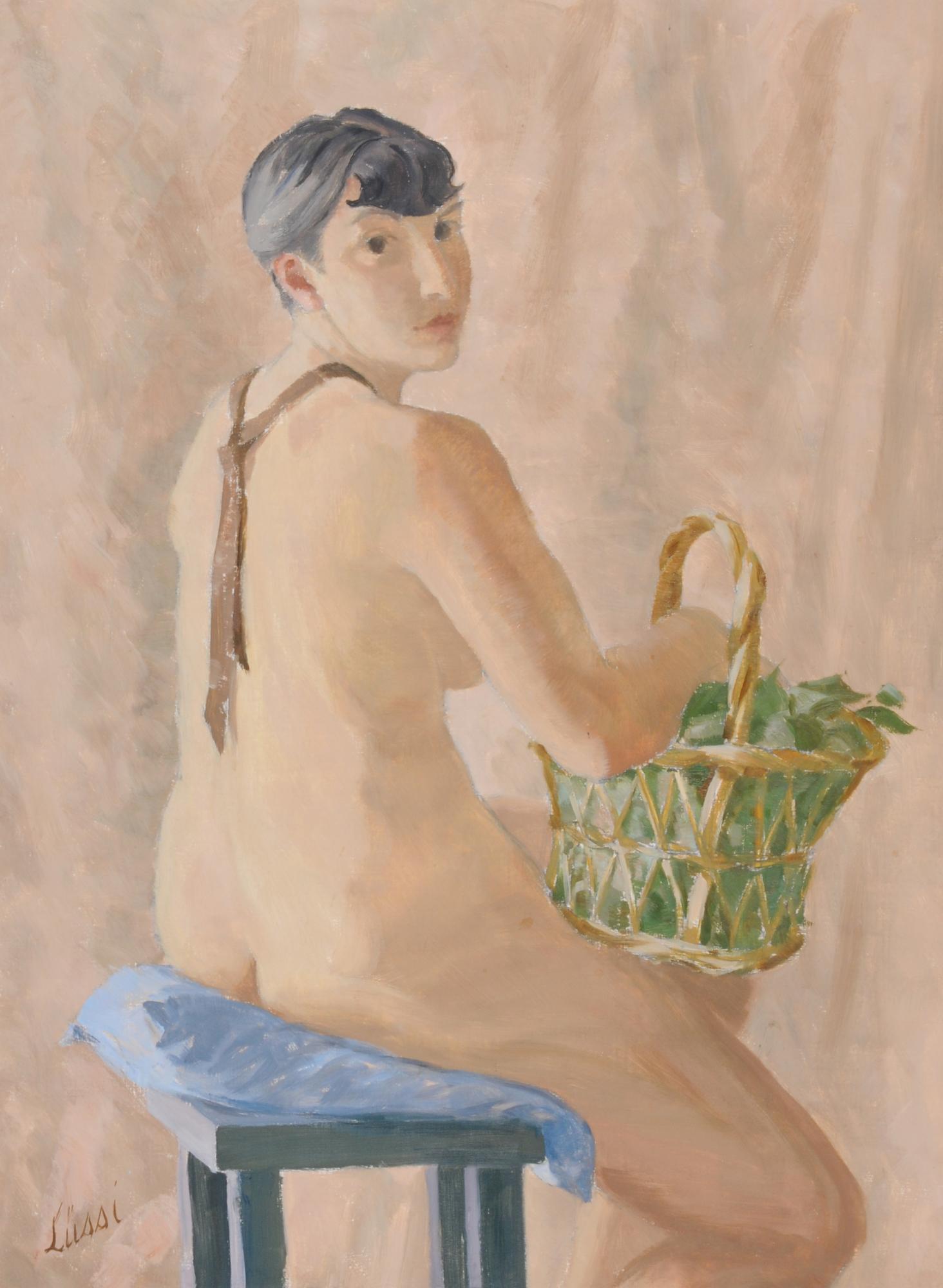 Lüssi Otto, Akt mit Korb (Nude with Basket)