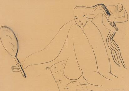 Ikemura Leiko, Frau mit Spiegel (Female with Mirror)