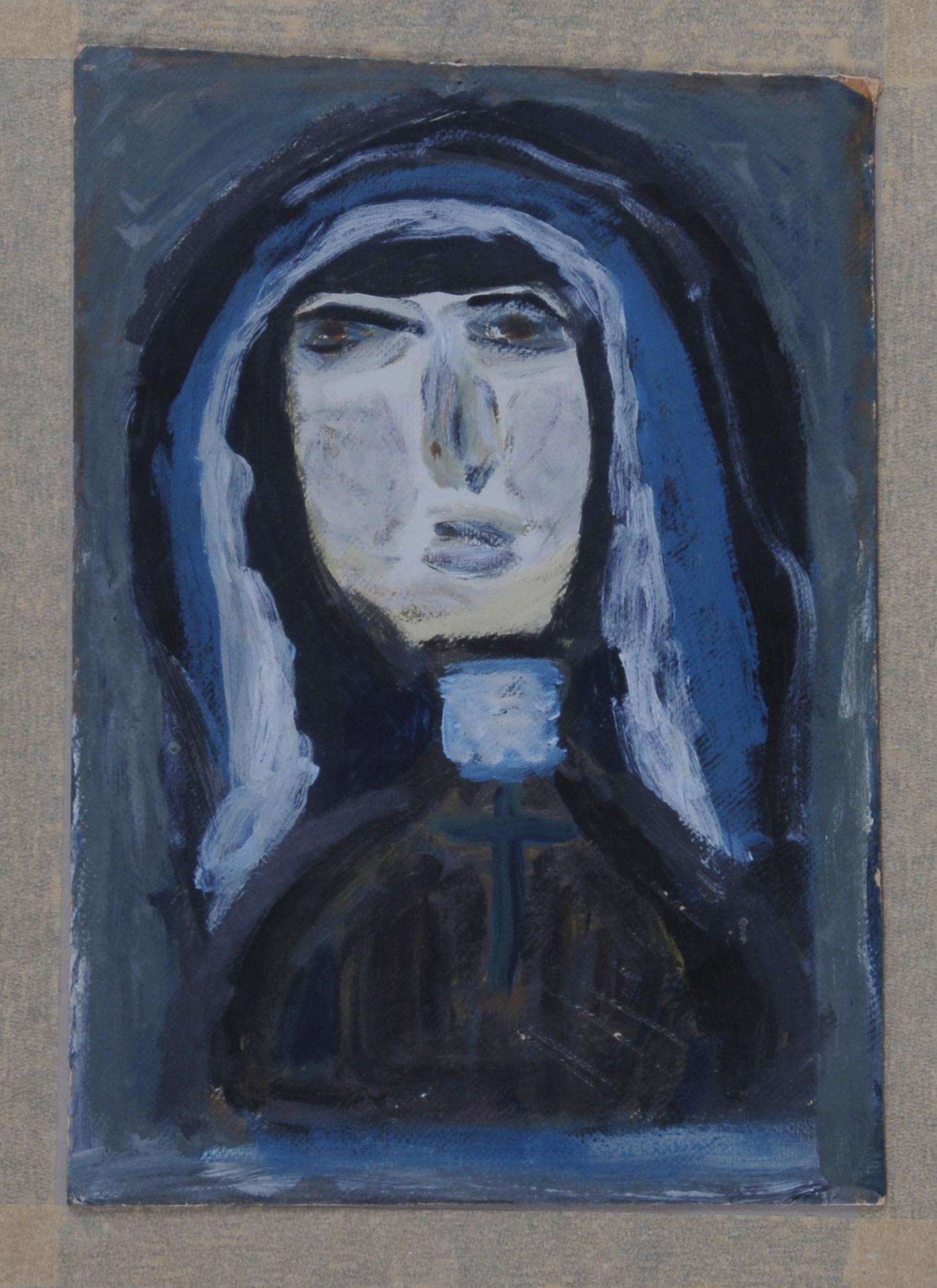 Steffen Walter, 2 paintings: Nonne (Nun); Landschaftsskizze (Landscape Sketch)