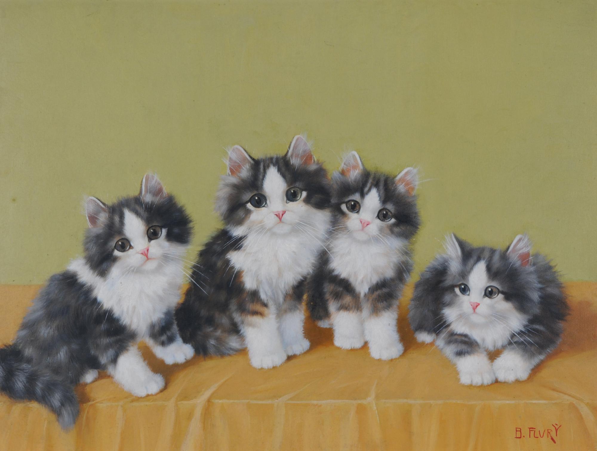 Flury Burkhard, Vier Kätzchen (Four Kittens)