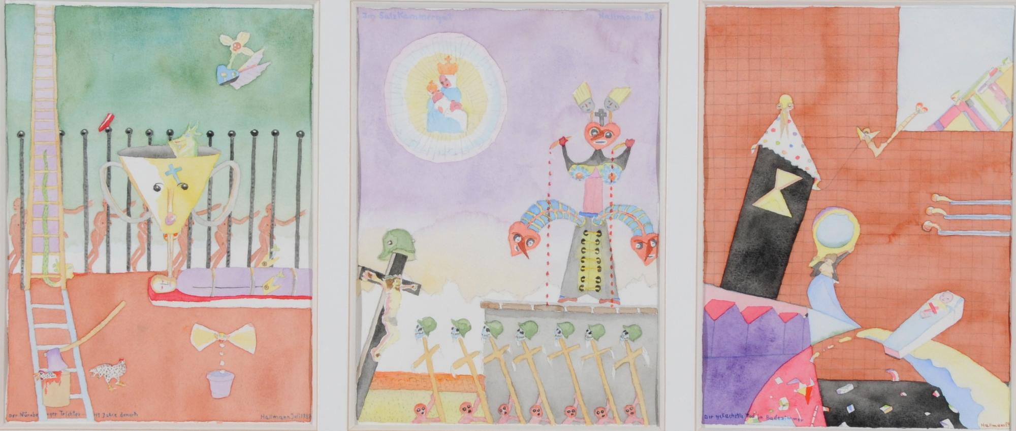 Hallmann Blalla W., 3 sheets: Der Nürnberger Trichter - 41 Jahre danach; Im Salzkammergut; Der gekachelte Tod im Badezimmer