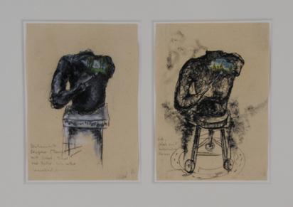 """Tannert Volker, 2 sheets: """"Sentimentale Skulptur (Torso) mit Sockel, Pinsel und Farbe sich selbst bemalend"""", 1986; """"Dito, jedoch mit rotierendem Sockel"""""""