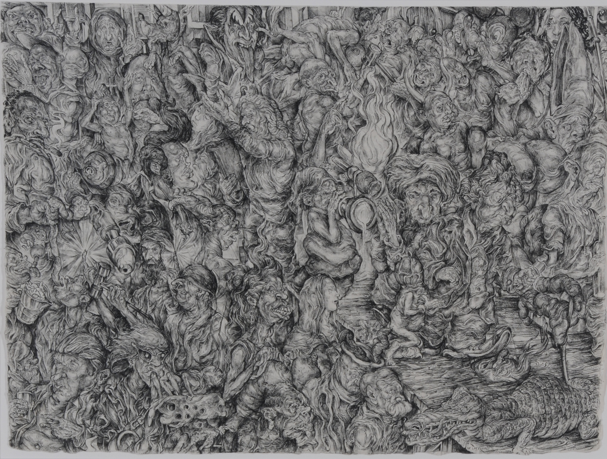De Las Flores Oscar, 3 drawings: Diptych. The O So Sweet Birth of Oscar de Las Flores / The Even Sweeter Death of Oscar de Las Flores, 2008; The Ascension of Mama Nanda in the Midst of a Century, 2008; The Rapturous Life, According to Good Old Jerry Springer