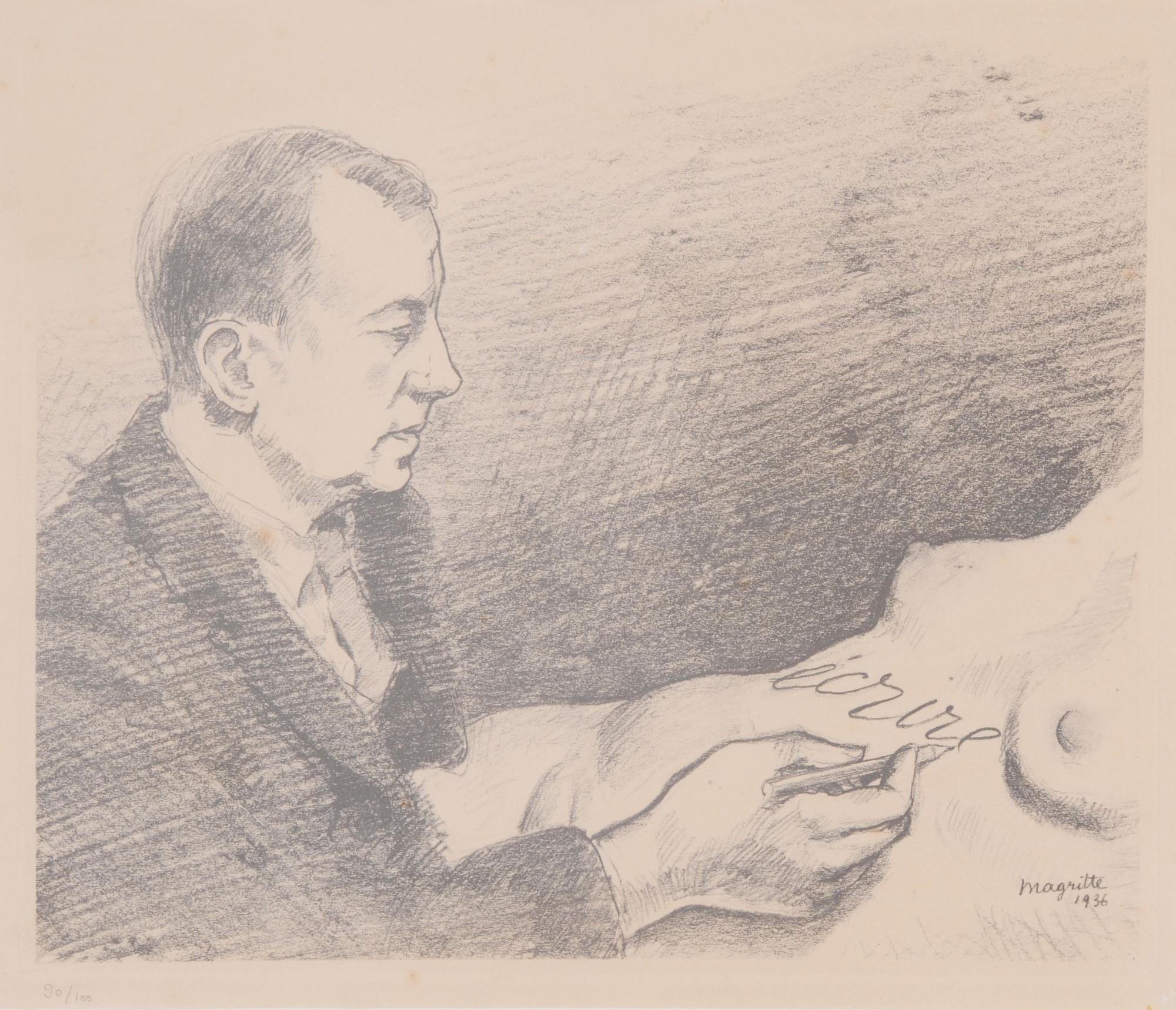 Magritte René, Écrire, portrait de Paul  Éluard