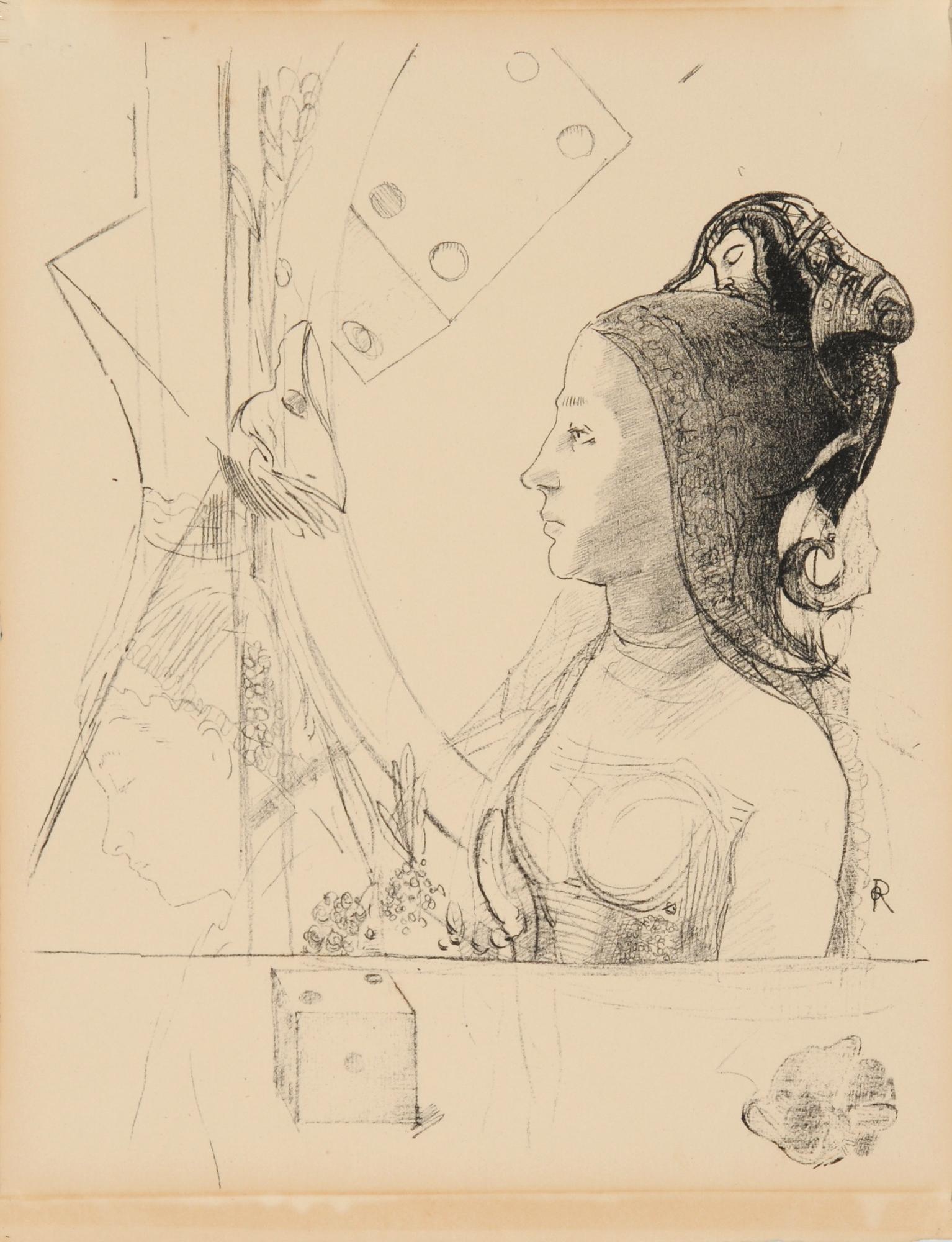 Redon Odilon, Femme de profil, coiffée d'un hénin surmonté d'une folie