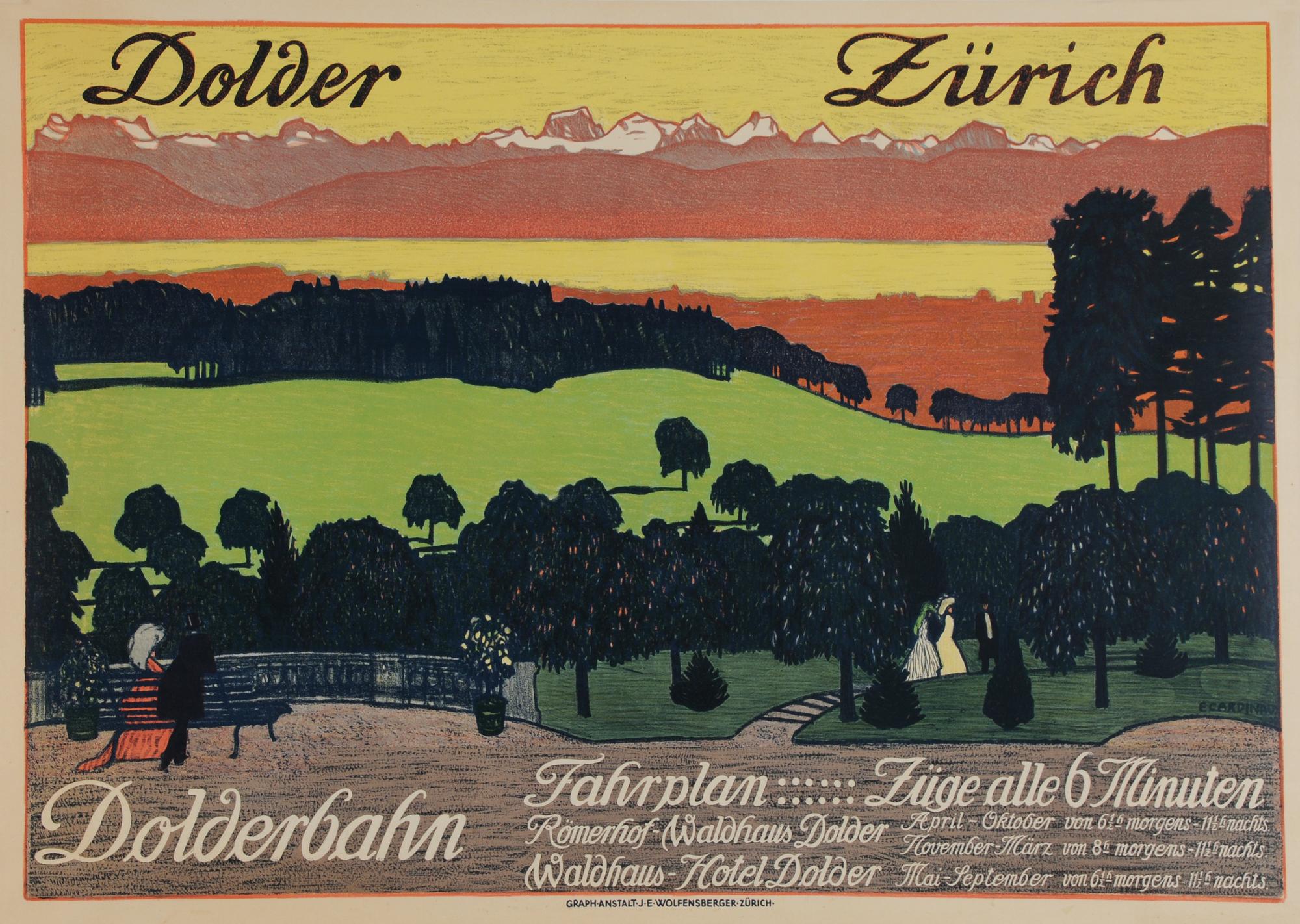 Cardinaux Emil, Poster. Dolder Zürich - Dolderbahn Fahrplan