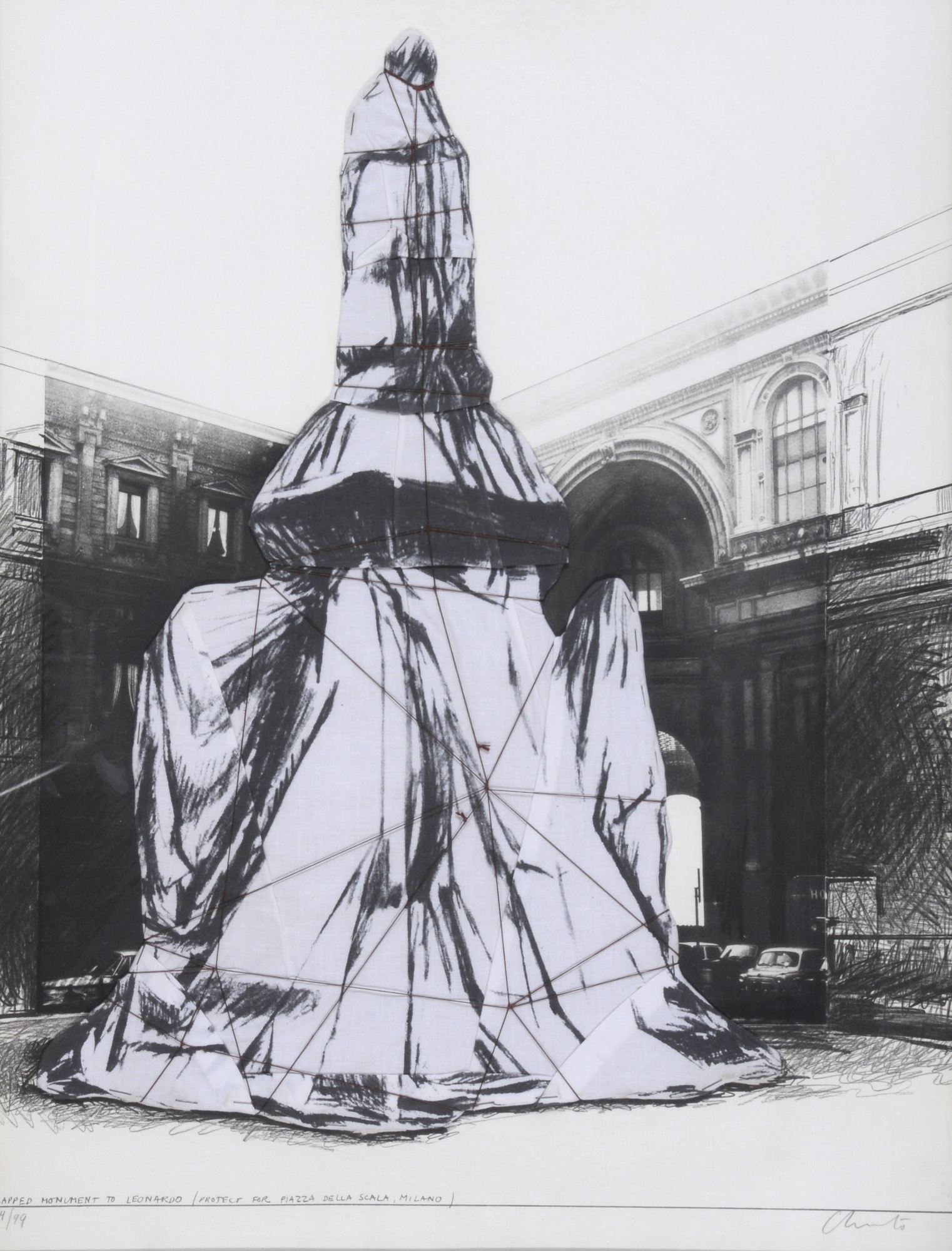 Christo, Wrapped Monument to Leonardo (Project for Piazza della Scala Milano)