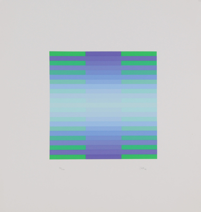 Bill Jakob, 3 sheets: Plura 2, 1974; Grauviolett/orangerot/iris, 1974; Green, 1987