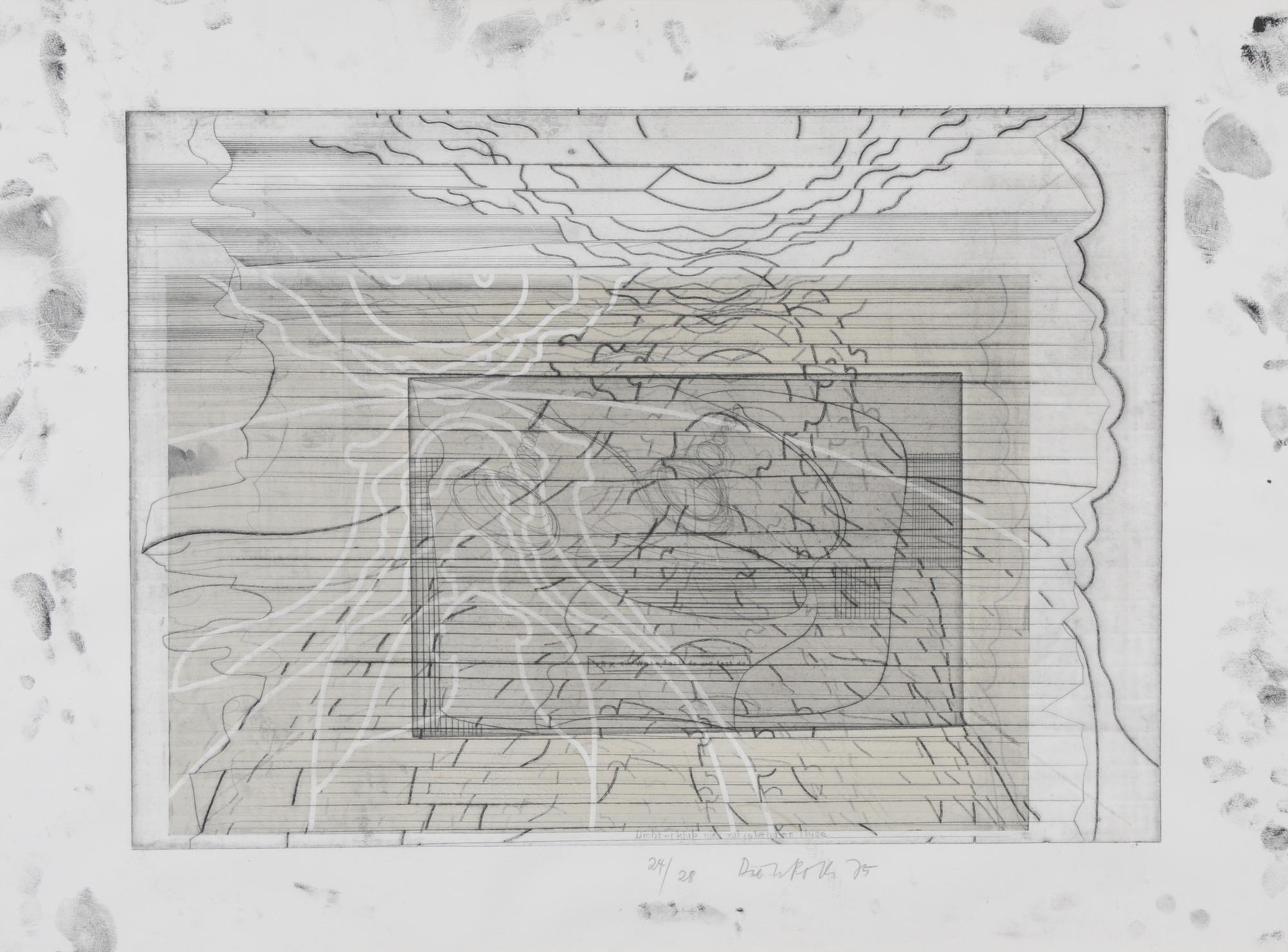 Roth Dieter, 2 sheets: Dichterklub mit aufgehender Muse, 1974; 4 x Selbstbildnis als Horizonttier, 1973