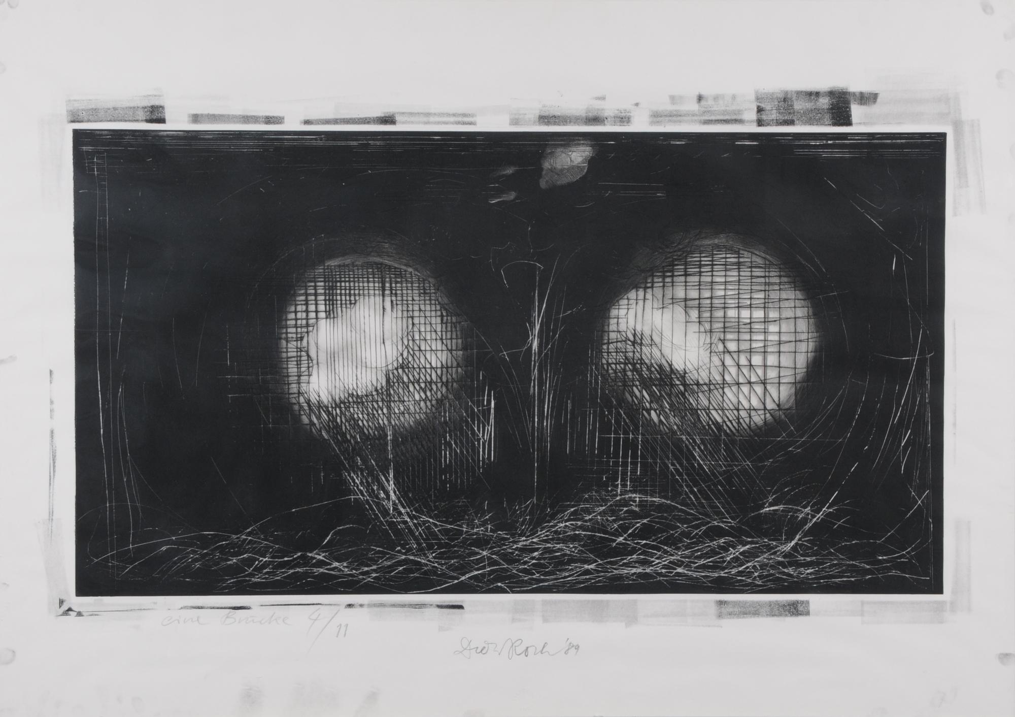 Roth Dieter, 2 sheets: Eine Brücke, 1989; Selbstbild als Selbstbildnishaltender Löwe, 1. Condition, 1975