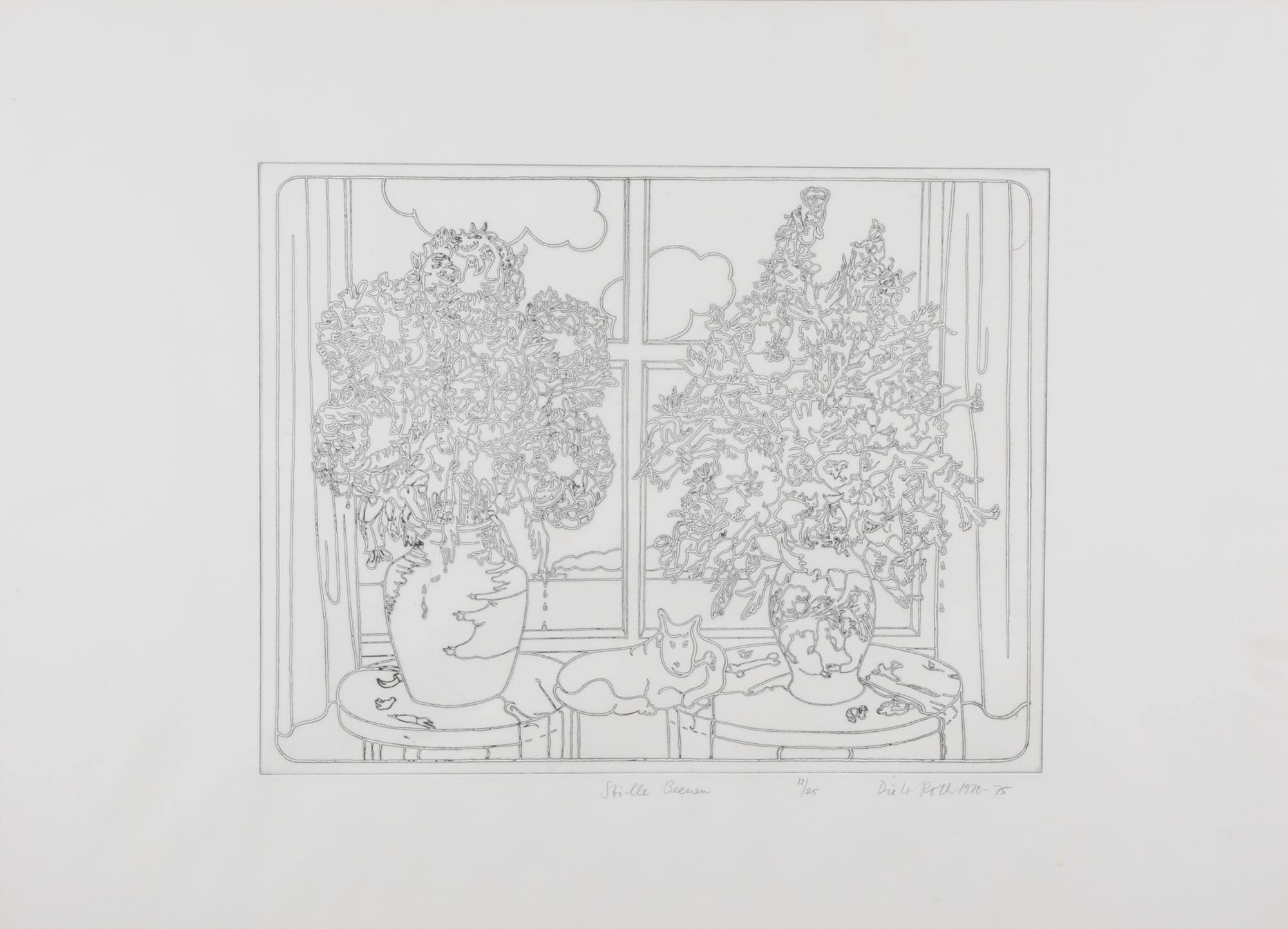 Roth Dieter, 2 Blätter: Horizonttiere an der Arbeit, 1974; Stille Beenen, 1970-75