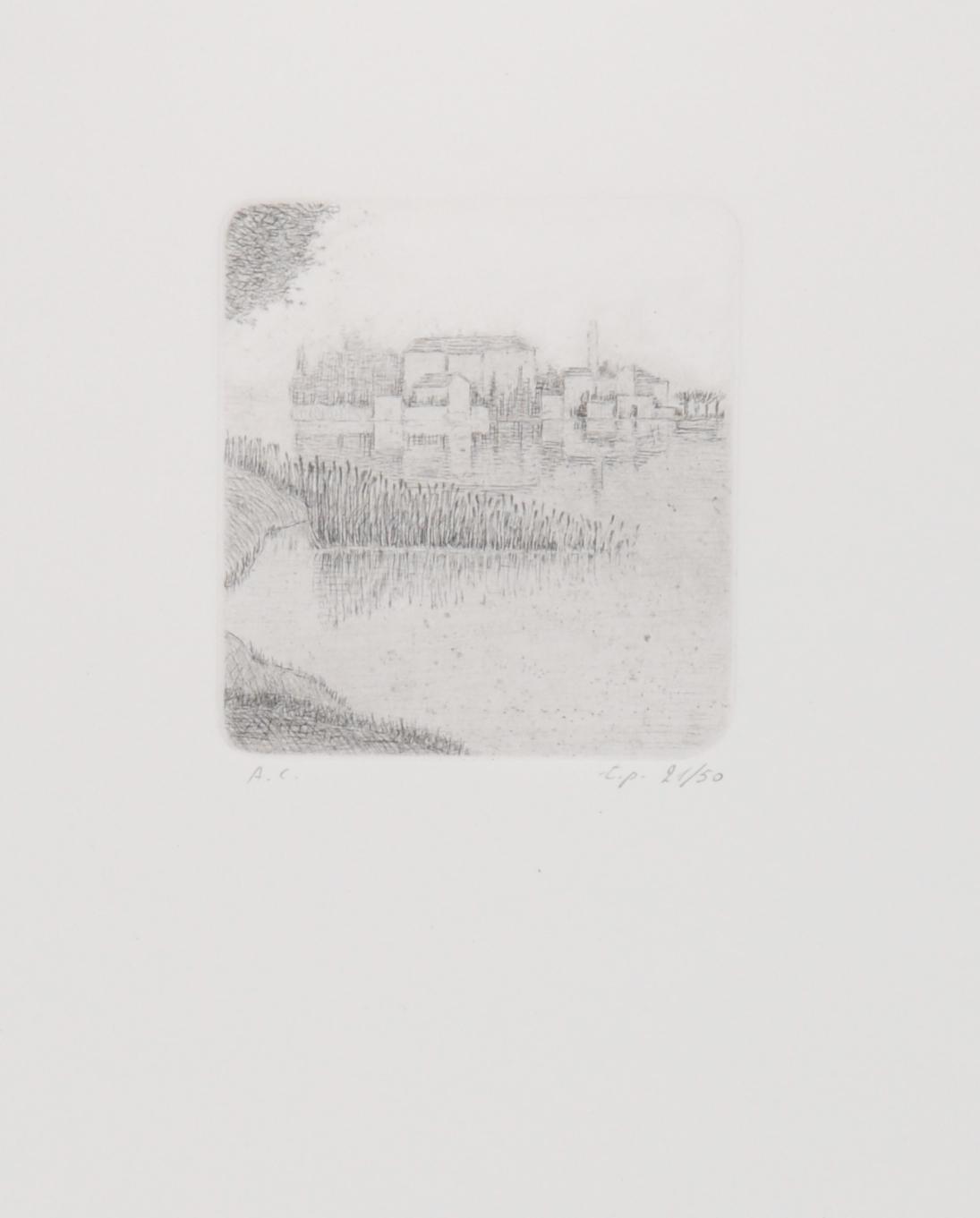 Calderara Antonio, 7 sheets: Il fante, 1933; Il vicolo, 1935; Nevicata, 1935; L'Isola, 1936; Orta, 1936; Paesaggio Invernale, 1936; Lui et Lei, 1958